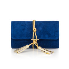 Marni French Navy Suede & Braided Leather Clutch