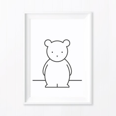 Buddy Bear Monochrome Nursery Art Print