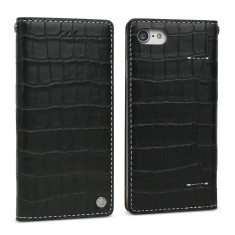 Croco leather iPhone 7 case in Pure Black / handmade