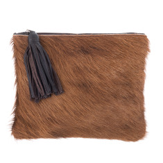 Mickey in Brown Calf-Hair/Brown Leather Clutch