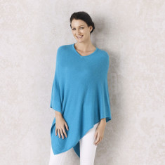 Cashmere Poncho in Turquoise