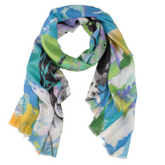 Giselle digital print silk scarf in turquoise