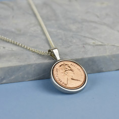 Halfpenny Year Coin Necklace Pendant 1971 To 1984