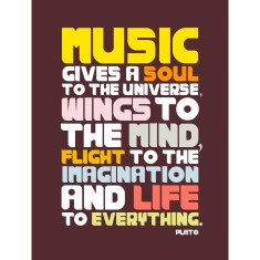 Retro music quote DIY canvas downloadable (range of colours)