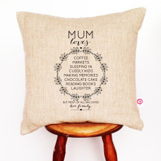 Personalised Wreath List Of Loves Cushion Cover