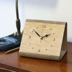 Personalised Living Hinge Wooden Oak Clock