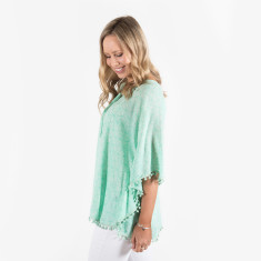 Seychelles pom pom top in green