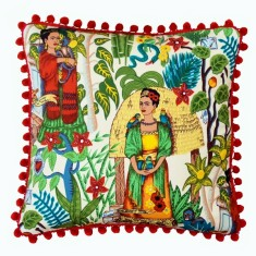 Frida's Garden Cream Cushion with Pom Poms (Various Sizes)