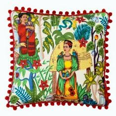 Frida's Garden Cream Cushion Cover with Pom Poms (various Sizes)