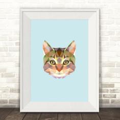 Geometric cat head art print