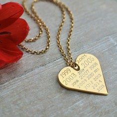 Personalised gold heart memorable years necklace