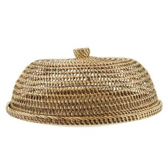 Brown rattan serving tray & cover
