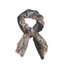 My Dreamscape Scarf: Grey, Red and Blue