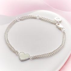 Elodie White Heart Bracelet