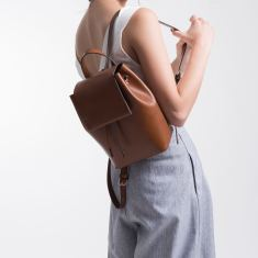 Women's leather city backpack
