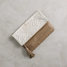 Oversized Clutch In Textured Zebra White