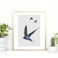 Geometric swallows print
