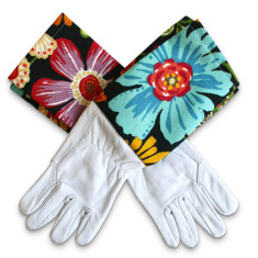 Protective Cuff leather gardening gloves in magic garden