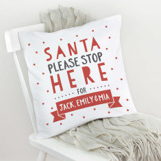 Personalised 'Santa Stop Here' Cushion Cover