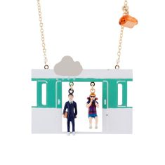 Tourist And Business Man In The Paris' Subway Long Necklace
