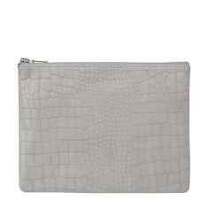 Antiheroine leather wallet in grey croc emboss