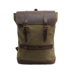 Green canvas backpack travel bag laptop bag