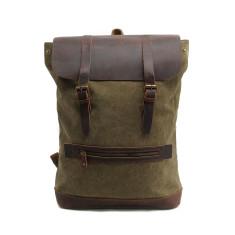 Green canvas backpack travel bag laptop bag