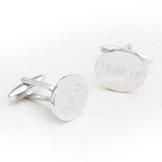 Contemporary personalised oval cufflinks