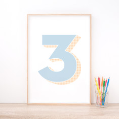 Personalised Blue Number Art Print