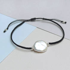 Coin Pearl And Silver Friendship Bracelet
