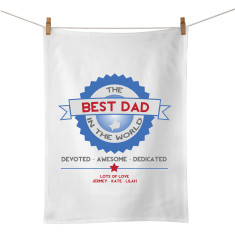 Best Dad badge personalised tea towel