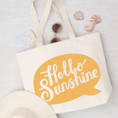 Hello Sunshine Canvas Beach Bag
