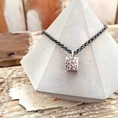 Solid silver cube pendant necklace