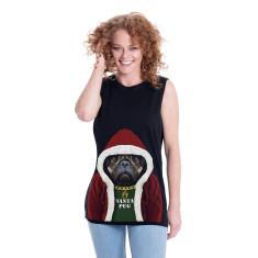 Santa Pug women's boyfriend tank