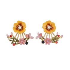 Yellow Flower and Pink Blossoms Clasp Earrings