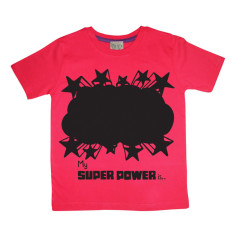 Kids' chalkboard t-shirt in red super power design