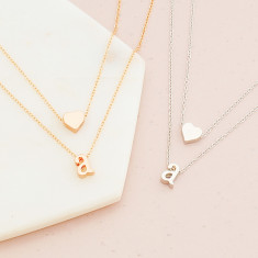Personalised double layer heart and Initial necklace in rose gold or silver