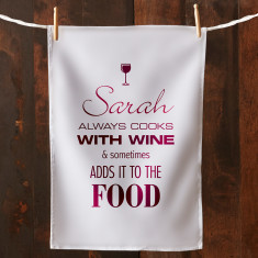 Personalised cooks with wine tea towel