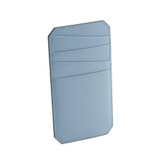 Name leather cardholder (dusty blue)
