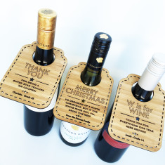 Personalised wine bottle bamboo tags