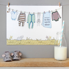 Personalised Welcome To The World Boy Print