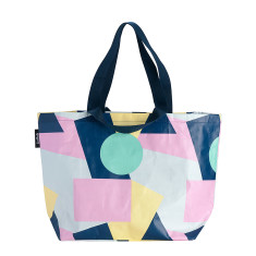 Shopper Tote in Colour Block print