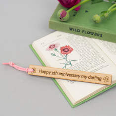 Fifth Wedding Anniversary Personalised Wooden Bookmark