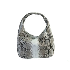 Natural python leather long hobo bag