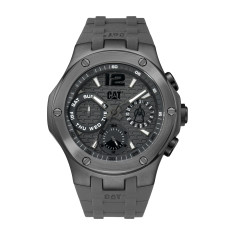 CAT NAVIGO MULTI dial Dual Time Watch in Grey Gun Metal Stainless Steel & Grey Rubber Band