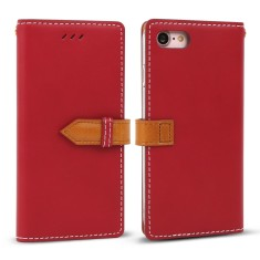 Classic snap leather iPhone 7/7+ case in Red