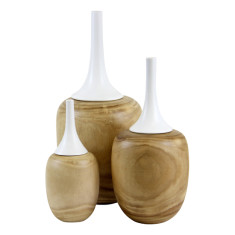 White lidded timber vases (set of 3)
