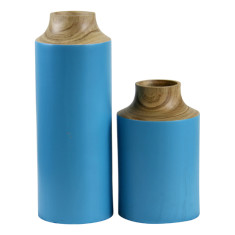 Timber and blue canister vases (set of 2)