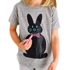 Kids' chalkboard t-shirt in rabbit design