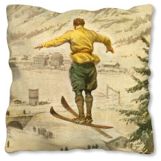 Italian Ski Jump linen cushion cover